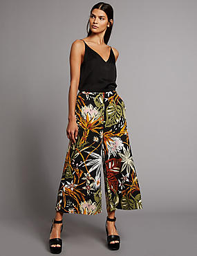 Floral Print Cropped Wide Leg Trousers, BLACK MIX, catlanding