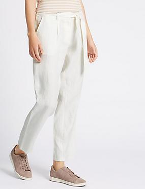 Pure Linen Tie Waist Tapered Leg Trousers, IVORY, catlanding