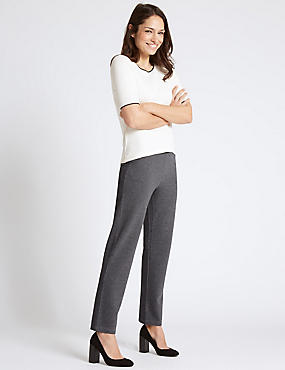 Design Ponte Striped Straight Leg Trousers, NAVY MIX, catlanding