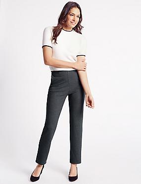 Ponte Striped Straight Leg Trousers, GREY MIX, catlanding