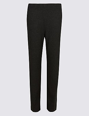 Herringbone Textured Straight Leg Trousers, BLACK MIX, catlanding