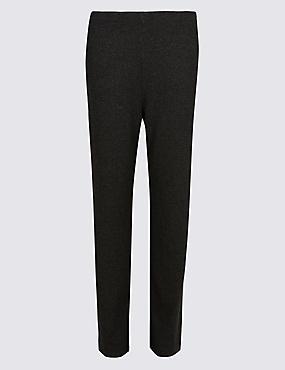 Herringbone Textured Straight Leg Trousers, BLACK MIX, catlanding