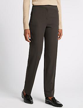 Twin Zip Pocket Straight Leg Trousers, CHOCOLATE, catlanding