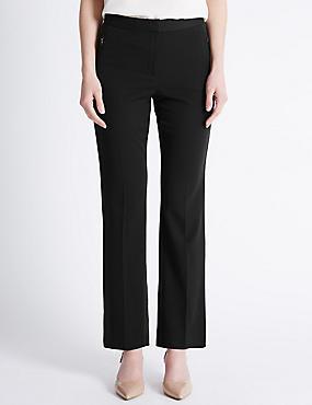 Twin Zip Pocket Straight Leg Trousers, BLACK, catlanding