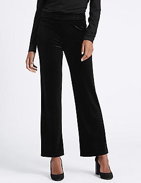 Velour Straight Leg Trousers, BLACK, catlanding
