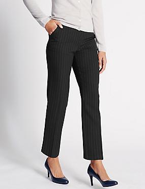 Pinstripe Straight Leg Trousers, BLUE MIX, catlanding