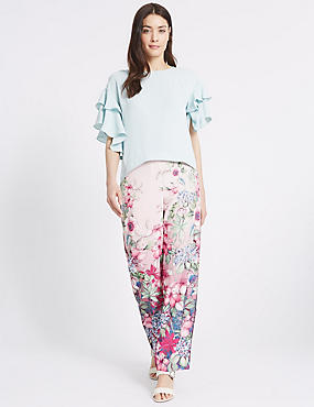 Floral Print Straight Leg Trousers, PINK MIX, catlanding