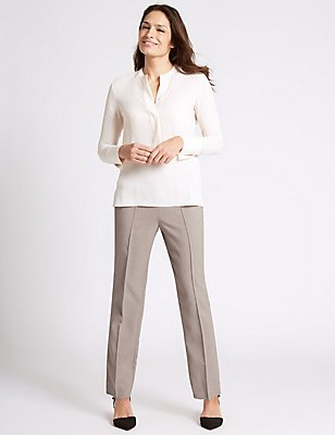 Cross Hatch Straight Leg Trousers, MINK, catlanding