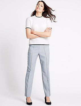 Cross Hatch Straight Leg Trousers, GREY, catlanding