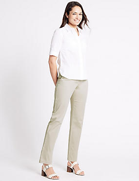 Cotton Rich Straight Leg Trousers, STONE, catlanding