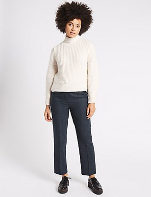 Wool Rich Cropped Straight Leg Trousers, DARK BLUE, catlanding