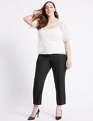 PLUS Straight Leg Trousers, BLACK, catlanding