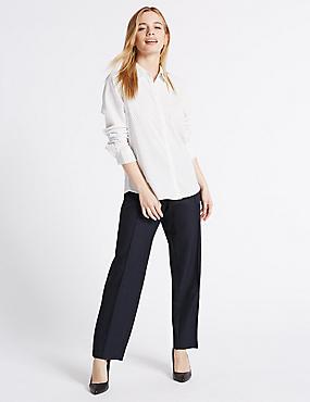 PETITE – Pantalon coupe droite, BLEU MARINE, catlanding