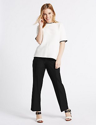 PETITE Straight Leg Trousers, BLACK, catlanding