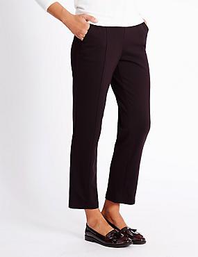 Pull-On Straight Leg Trousers, AUBERGINE, catlanding