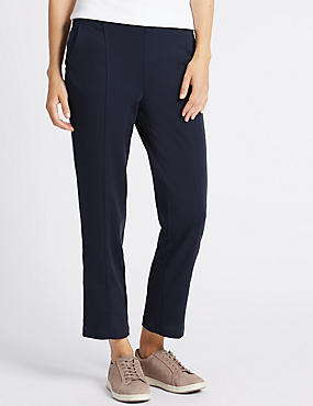 Ponte Straight Leg Trousers, NAVY, catlanding