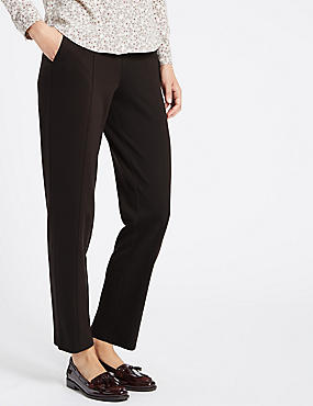 Ponte Straight Leg Trousers, CHOCOLATE, catlanding