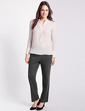 Ponte Straight Leg Trousers, CHARCOAL, catlanding