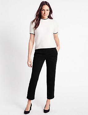Ponte Straight Leg Trousers, BLACK, catlanding
