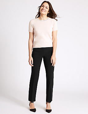Straight Leg Trousers, BLACK, catlanding
