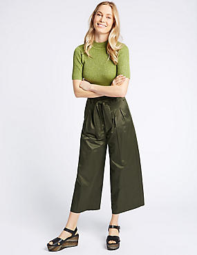 Cotton Blend Straight Leg Trousers , FERN GREEN, catlanding