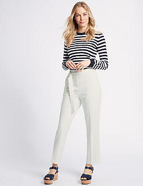 Belted Straight Leg Trousers , IVORY, catlanding