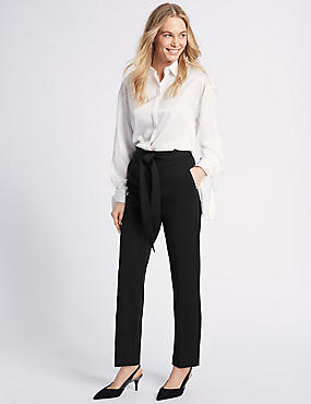 Belted Straight Leg Trousers , BLACK, catlanding