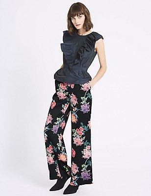 Oriental Floral Print Trousers, BLACK MIX, catlanding