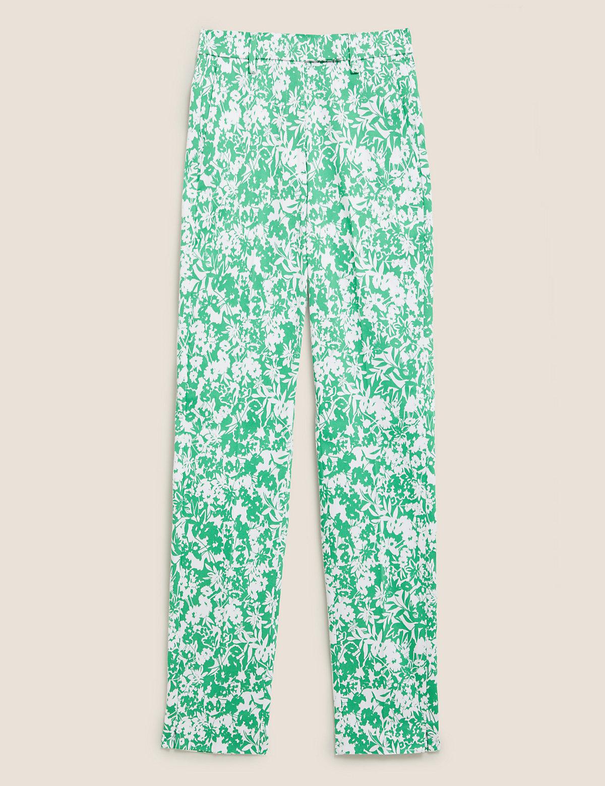 Узкие брюки длиной 7/8 из хлопка с цветочным принтом