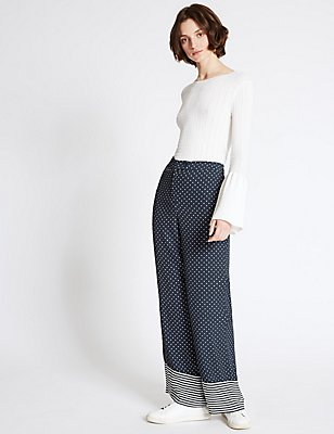 Polka Dot Striped Border Wide Leg Trousers, NAVY MIX, catlanding