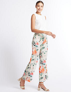 Floral Print Wide Leg Trousers, IVORY MIX, catlanding
