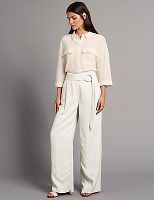 Belted Wide Leg Trousers, NEUTRAL, catlanding
