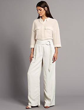 Belted Wide Leg Trousers, NEUTRAL, catlanding