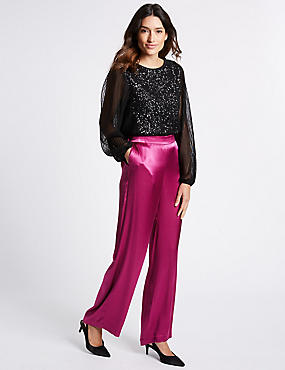Pantalon large en velours, MAGENTA, catlanding