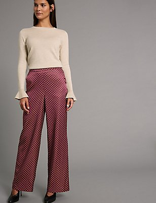 Polka Dot Wide Leg Trousers, RED MIX, catlanding