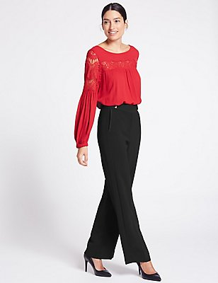 Grosgrain Detail Wide Leg Trousers, BLACK, catlanding