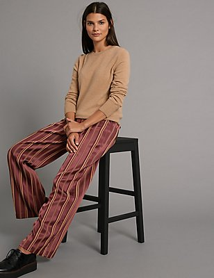 Striped Wide Leg Trousers, RED MIX, catlanding