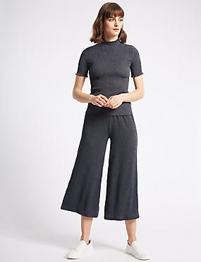 Crinkle Textured Wide Leg Culottes, CHARCOAL, catlanding