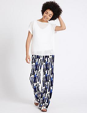 Pantalon large à imprimé effet peigné, IVOIRE ASSORTI, catlanding