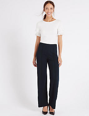 Wide Leg Ponte Trousers, NAVY, catlanding