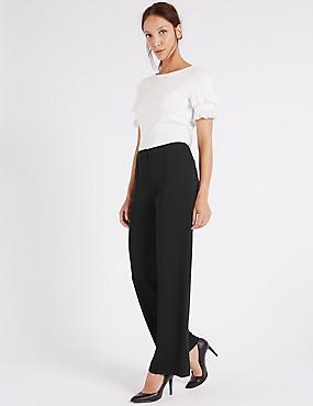 Wide Leg Ponte Trousers, BLACK, catlanding