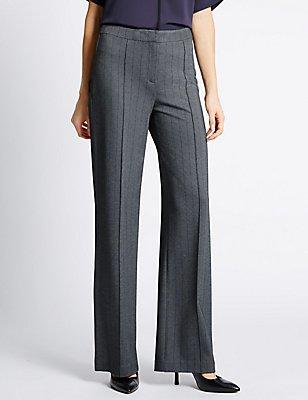 Striped Ponte Wide Leg Trousers, GREY MIX, catlanding