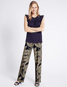 Leaf Print Wide Leg Trousers, NAVY MIX, catlanding