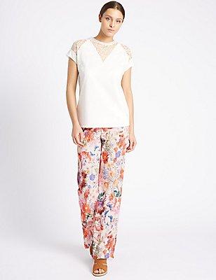 Floral Print Wide Leg Trousers, PINK MIX, catlanding