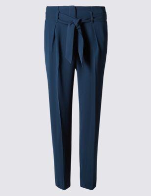 Зауженные брюки Paperbag с поясом и стрелками