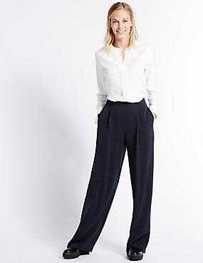 Wide Leg Trousers, NAVY MIX, catlanding