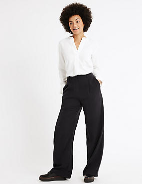 Wide Leg Trousers, BLACK MIX, catlanding