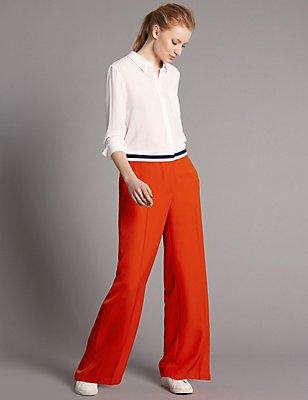 Striped Waist Wide Leg Trousers, BRIGHT ORANGE, catlanding