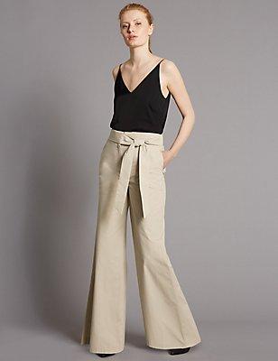 Pure Cotton Tie Detail Wide Leg Trousers, CAMEL, catlanding