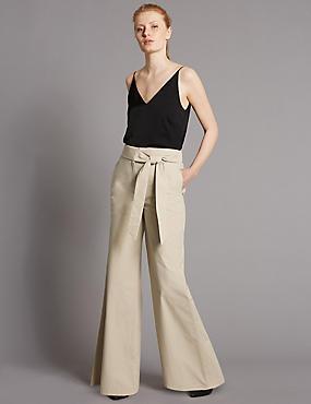 Pure Cotton Wide Leg Trousers, CAMEL, catlanding